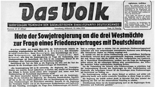 Anfrage UdSSR zum dt. Friedensvertrag