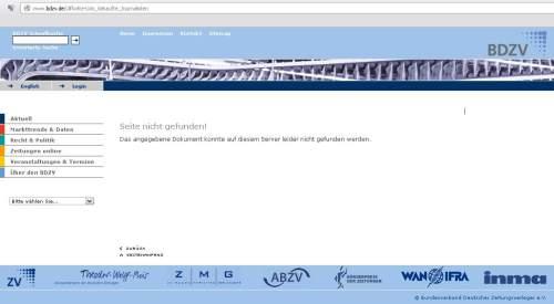 BDZV - Gekaufte Journalisten - Error 404