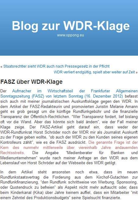 FASZ zur WDR-Klage